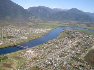 Vista Aérea de Puerto Aysén, Patagonia chilena
